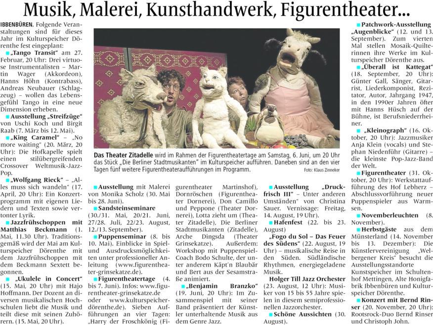 Zeitung: Termine 2015 im Kulturspeicher